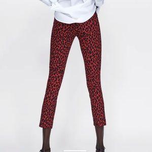 Zara Red Leopard Print Trousers